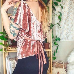 Zara | Blush Crushed Velvet Blouse
